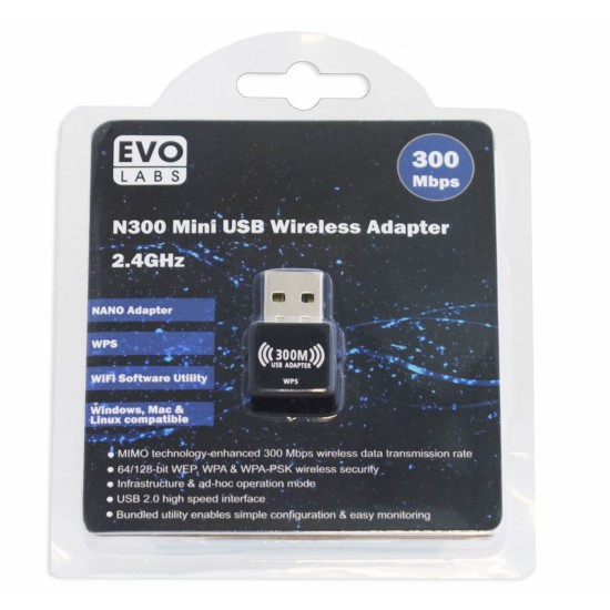 Evo Labs N300 Mini USB Wireless Adapter