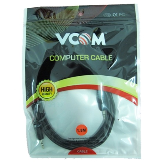 VCOM 3.5mm (M) Stereo Jack to 3.5mm (M) Stereo Jack 1.8m Black Retail Packaged Cable