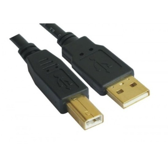 VCOM USB 2.0 A (M) to USB 2.0 B (M) 5m Black Retail Packaged Gold Plated Printer/Scanner Data Cable